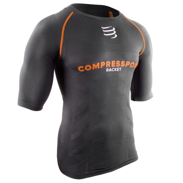 Compressport Racket On-Off Short Sleeve Compression Top Black