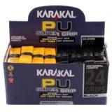 Ручка для сквоша, бадминтона Karakal PU Super Grip (коробка 24 шт) — чёрный/жёлтый